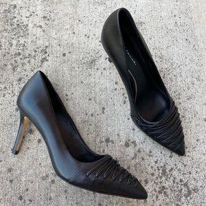 Elie Tahari Black Leather Lattice Pointed-Toe Heel